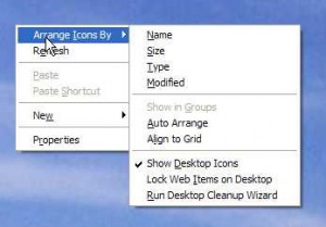 Arrange desktop icons in Windows.