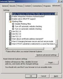 Internet Explorer advanced tab