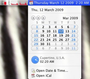 The calendar, date, time, memory meter, and meters for both CPUs in iStat Menus.