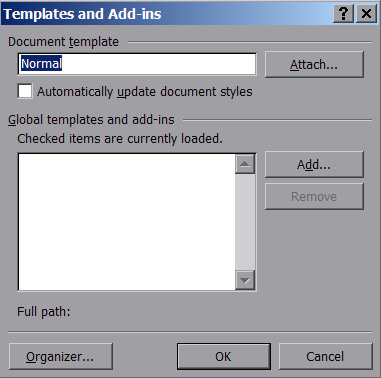 microsoft word default template