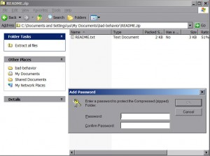 Password protect .zip file