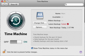 Time Machine settings for offsite backup