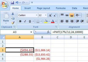Excel payment field