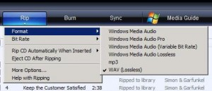 Rip with Windows Media Player