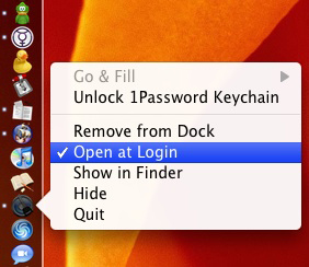 "Control-clicking lets you turn on or off the ""Open at Login"" feature for programs on your dock."