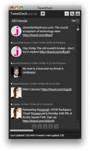 TweetDeck Twitter client in single-column mode.